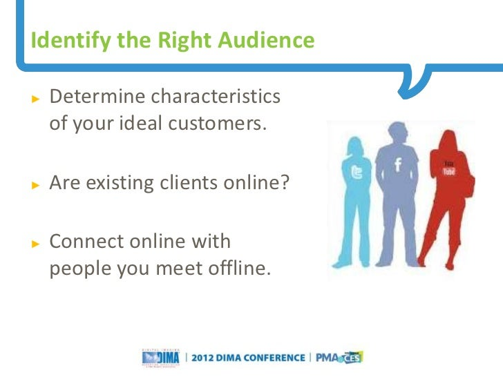 Identify the Right Audience►   Determine characteristics    of your ideal customers.►   Are existing clients online?►   Co...