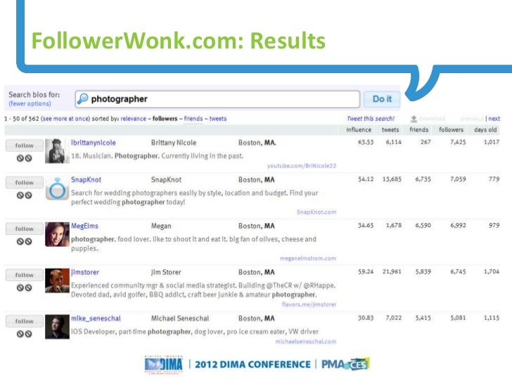 FollowerWonk.com: Results                                                                    Questions or Comments?       ...