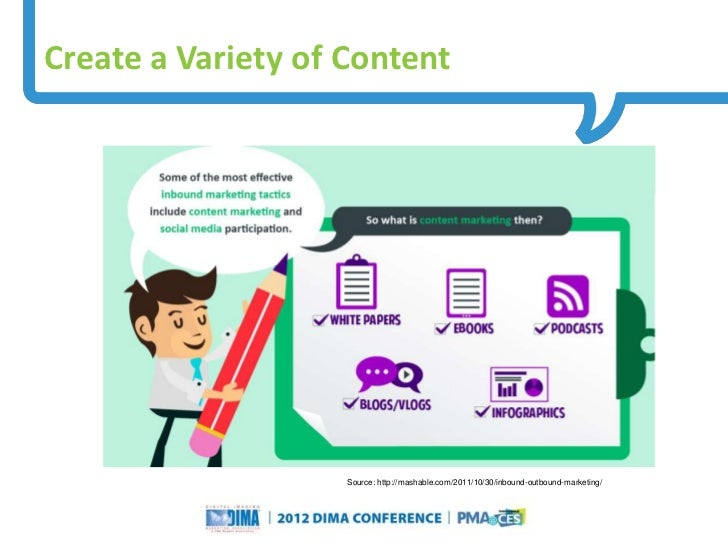 Create a Variety of Content                                                        Source: http://mashable.com/2011/10/30/...