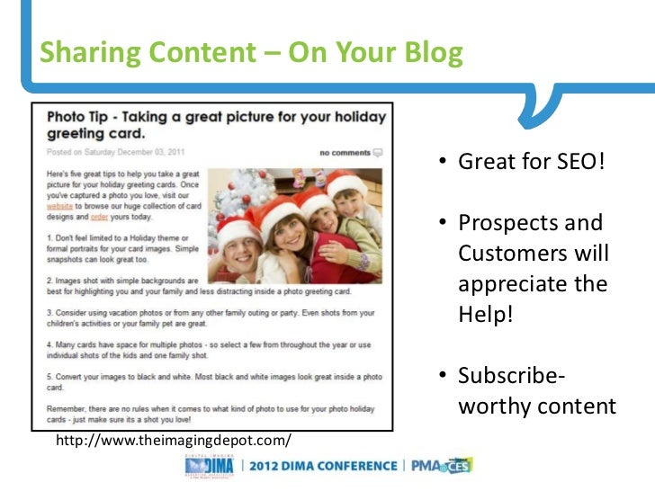 Sharing Content – On Your Blog                                                                            • Great for SEO!...