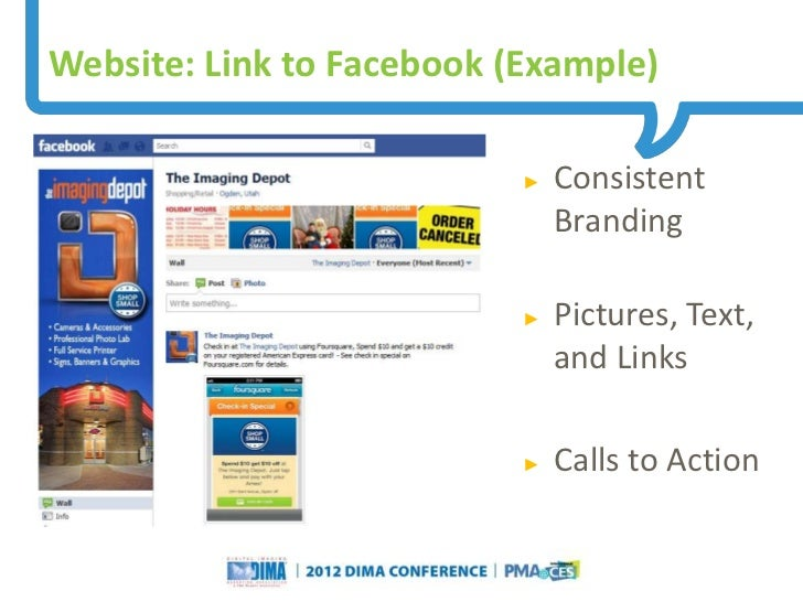 Website: Link to Facebook (Example)                                                                     ►   Consistent    ...