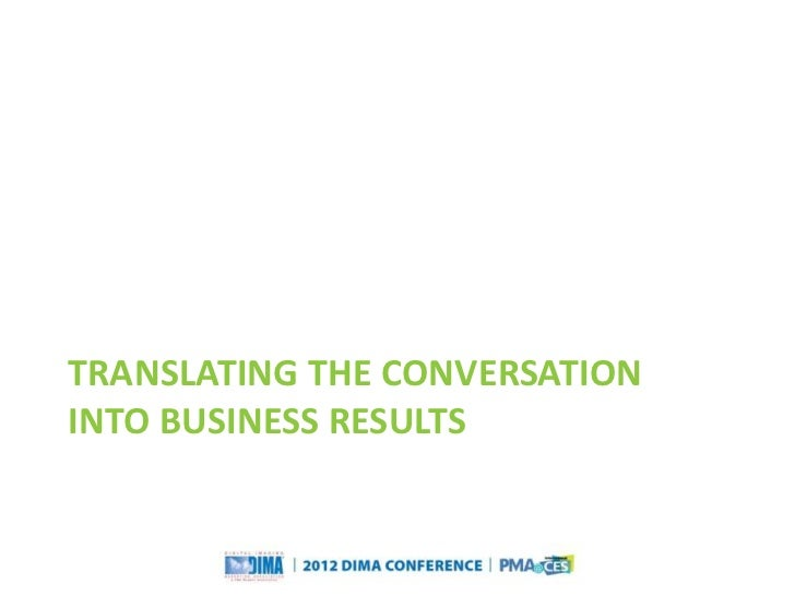 TRANSLATING THE CONVERSATIONINTO BUSINESS RESULTS                                                                  Questio...