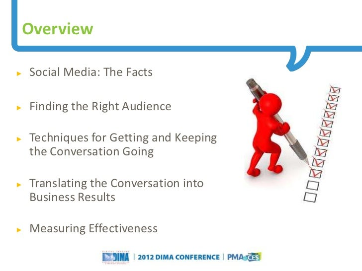 Overview►   Social Media: The Facts►   Finding the Right Audience►   Techniques for Getting and Keeping    the Conversatio...