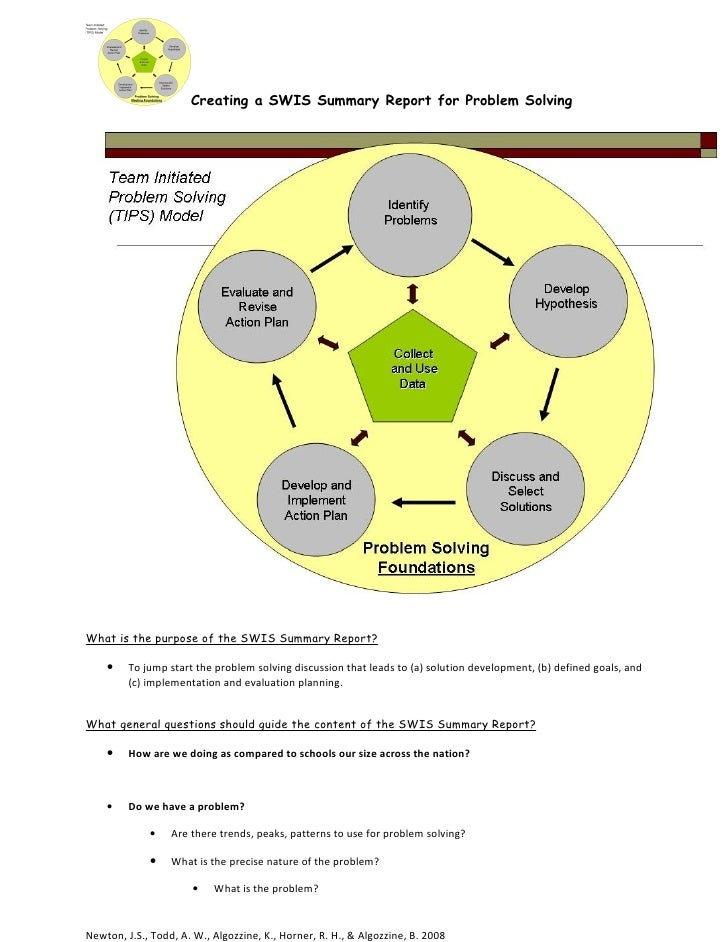 Creating a SWIS Summary Report for Problem Solving     What is the purpose of the SWIS Summary Report?      •    To jump s...