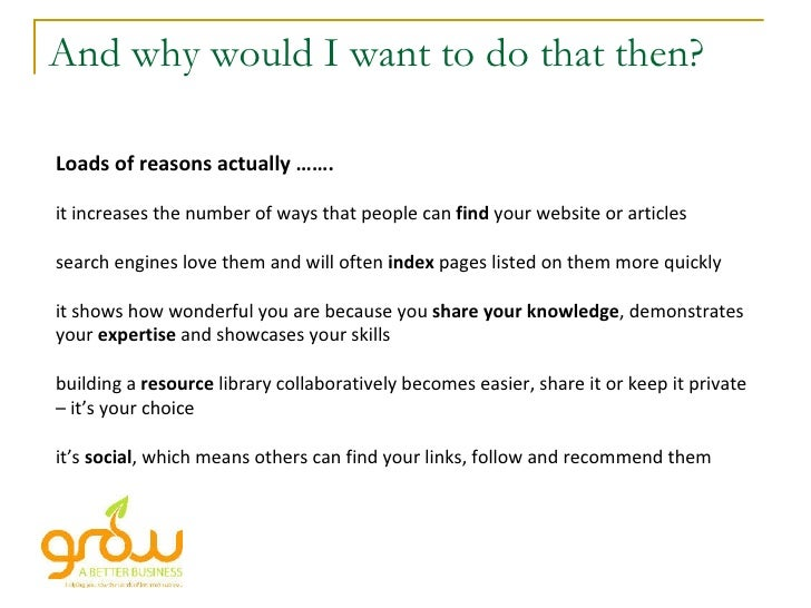 And why would I want to do that then? Loads of reasons actually ……. it increases the number of ways that people can  find ...