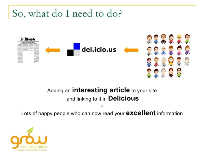 So, what do I need to do? Adding an  interesting article  to your site and linking to it in  Delicious = Lots of happy peo...