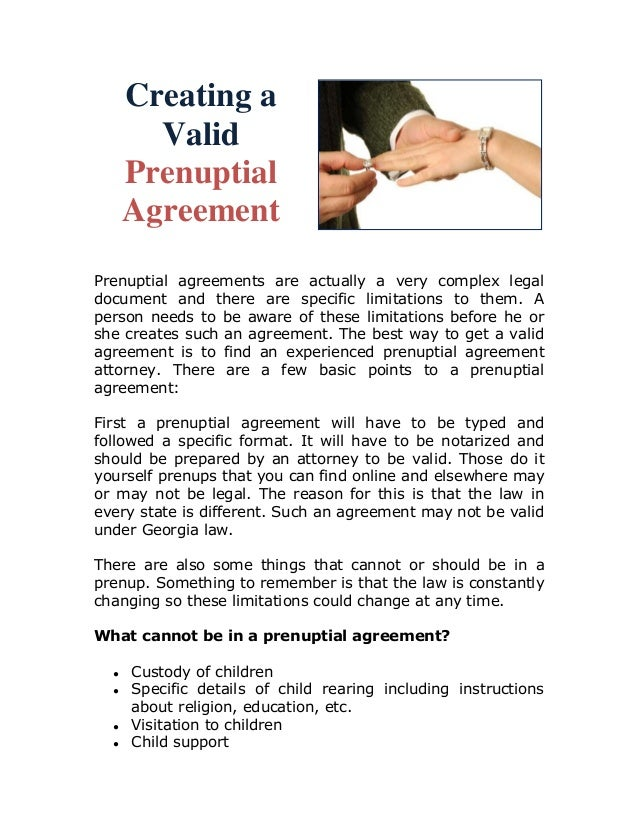 Creating A Valid Prenuptial Agreement