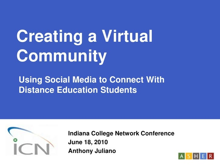 Creating a Virtual Community<br />Using Social Media to Connect With Distance Education Students<br />Indiana College Netw...