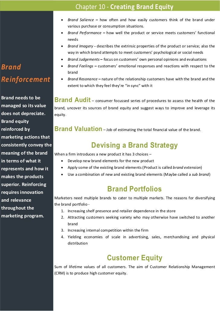 creating brand equity This paper will analyse the dynamics that define customer based brand equity the strategic elements involved in creating brand.
