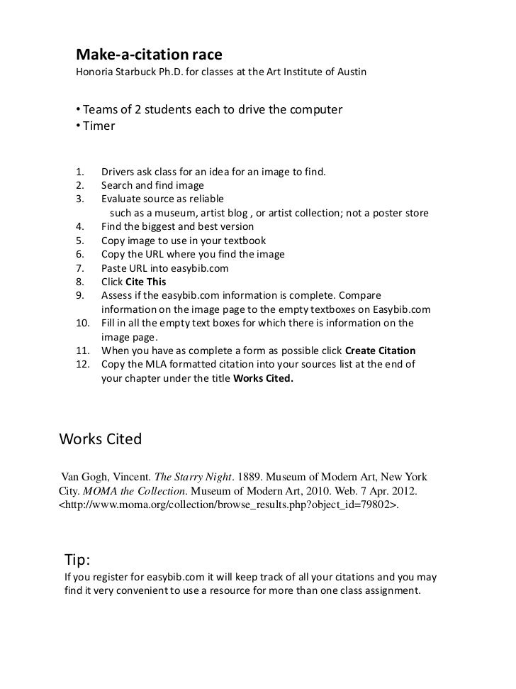 Make-a-citation race   Honoria Starbuck Ph.D. for classes at the Art Institute of Austin   • Teams of 2 students each to d...