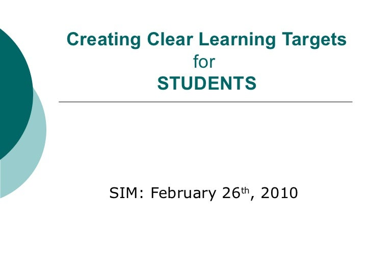 Creating clear learning targets