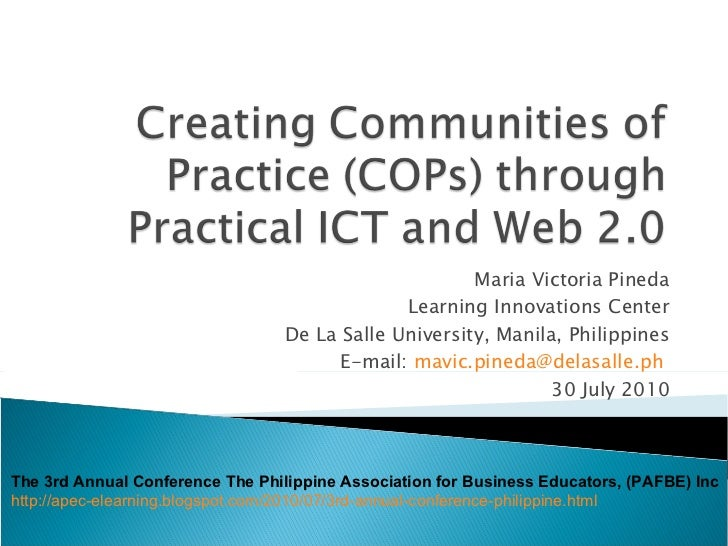 Maria Victoria Pineda Learning Innovations Center De La Salle University, Manila, Philippines E-mail:  [email_address]   3...