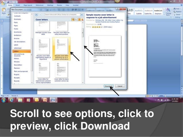 Creating cover letters in microsoft word 2007 scroll to see options click topreview click download spiritdancerdesigns Image collections
