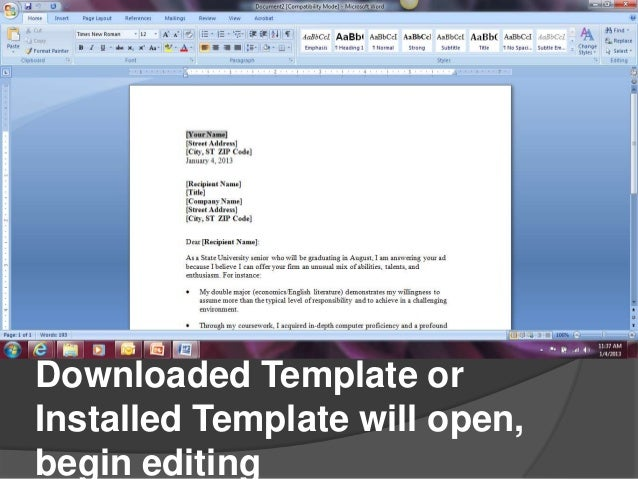 Creating cover letters in microsoft word 2007 scroll to see options click topreview click download 6 downloaded template spiritdancerdesigns Images