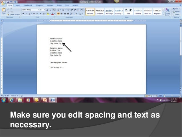 writing a letter in word 2007