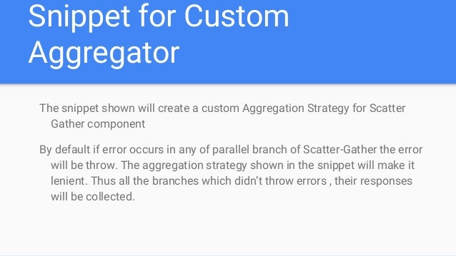 Creating custom aggregation strategy