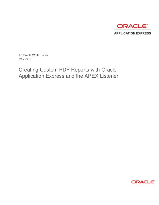 Creating custom reports ora app express apex listener