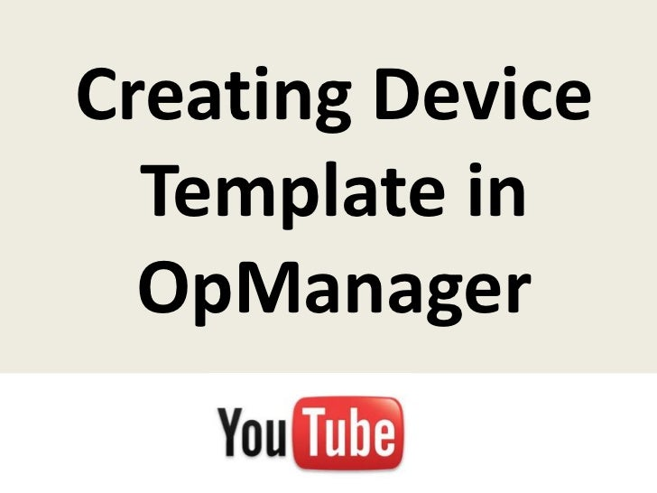 Creating Device Template in OpManager