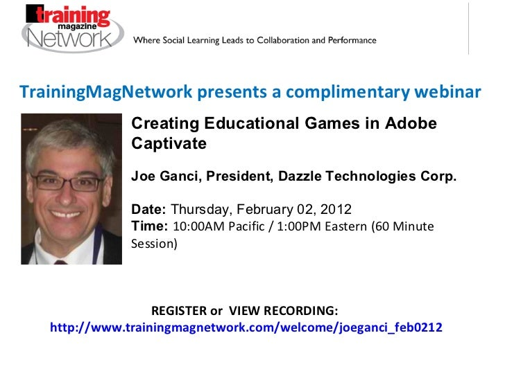 TrainingMagNetwork presents a complimentary webinar REGISTER or  VIEW RECORDING:  http://www.trainingmagnetwork.com/welcom...