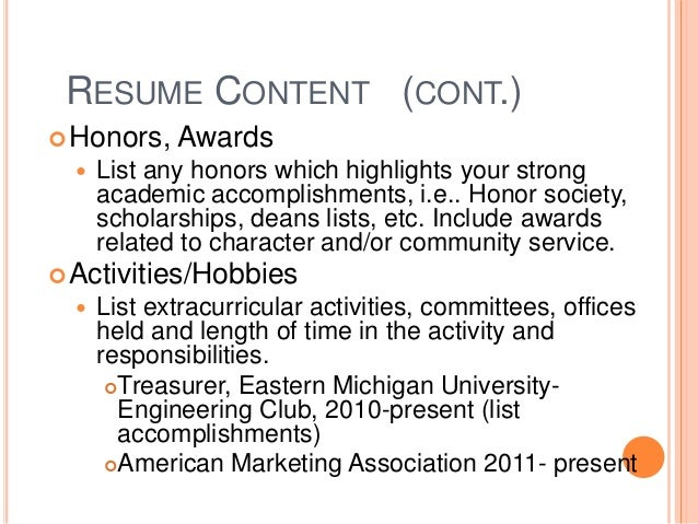 activities on resumes