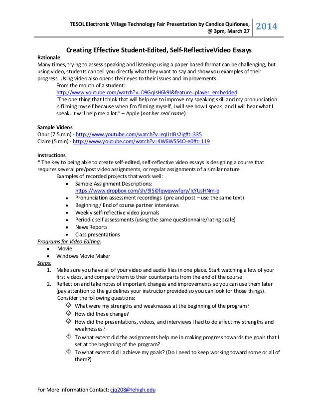 Creating effective student-edited, self reflective essays