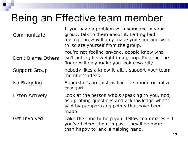 team player examples