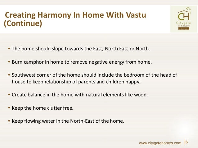 ... 6. Creating Harmony In Home ...