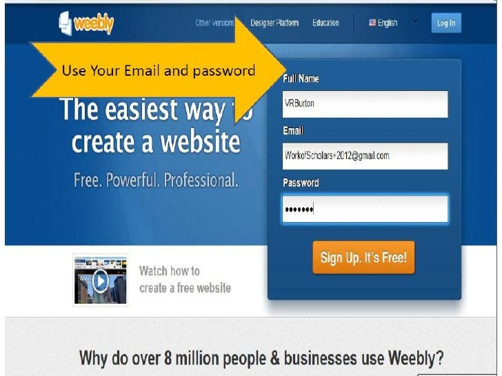 how to create a new site on weebly