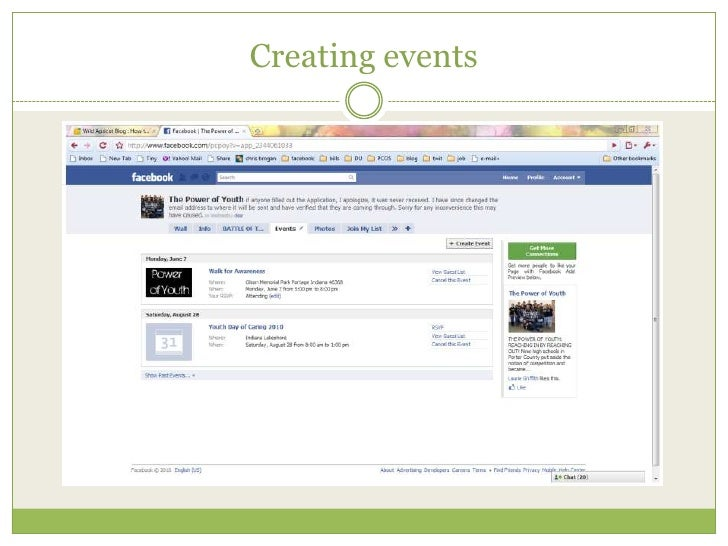 Creating events<br />