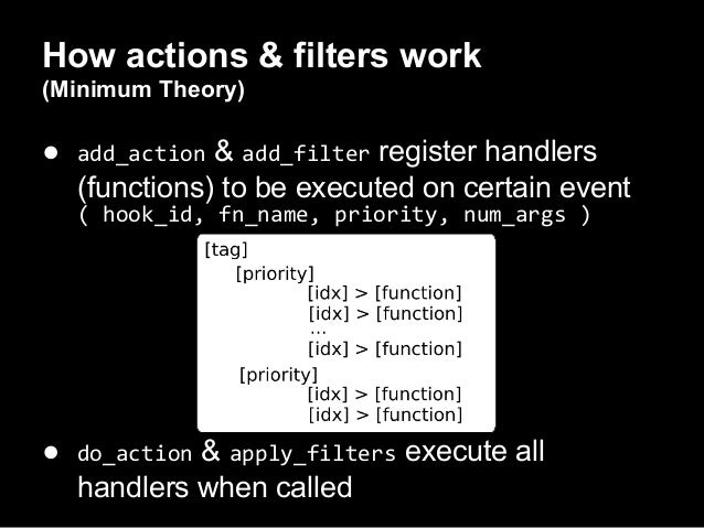 Difference between Actions & Filters● filters accept, modify & return data○ strings○ arrays○ objects● actions just execute...