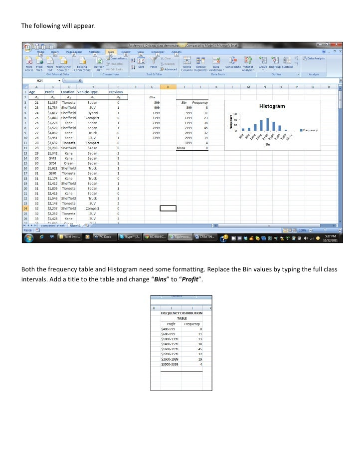 how to set up bins in excel