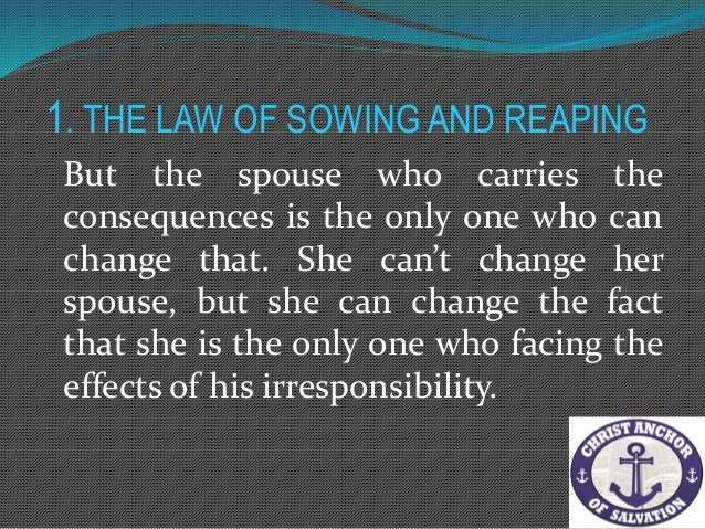 2. The Law of Responsibility We are responsible to, not for each other. We are to love one another, not be one another.