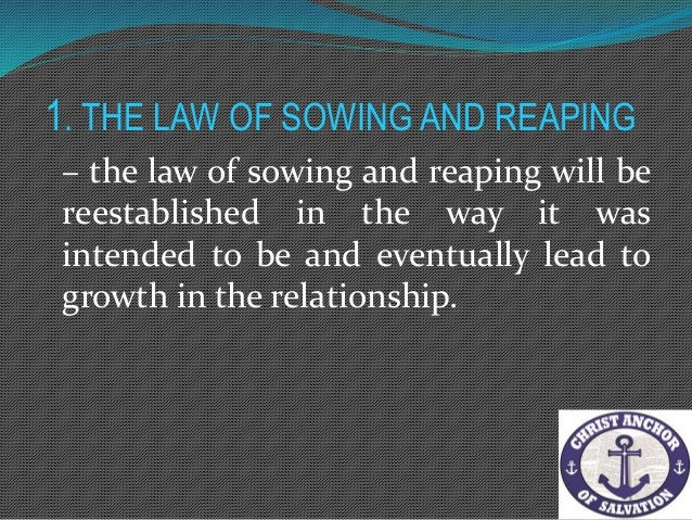2. The Law of Responsibility Jesus challenges us to love one another as he has loved us. Anytime we do not love others, we...