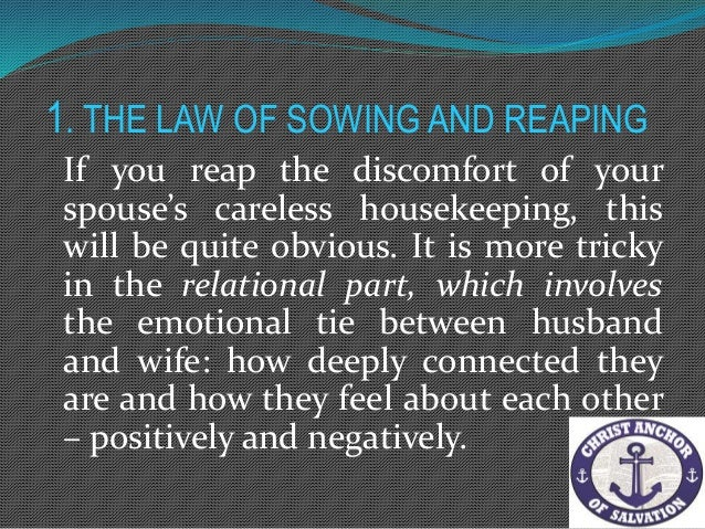 1. THE LAW OF SOWING AND REAPING – the law of sowing and reaping will be reestablished in the way it was intended to be an...