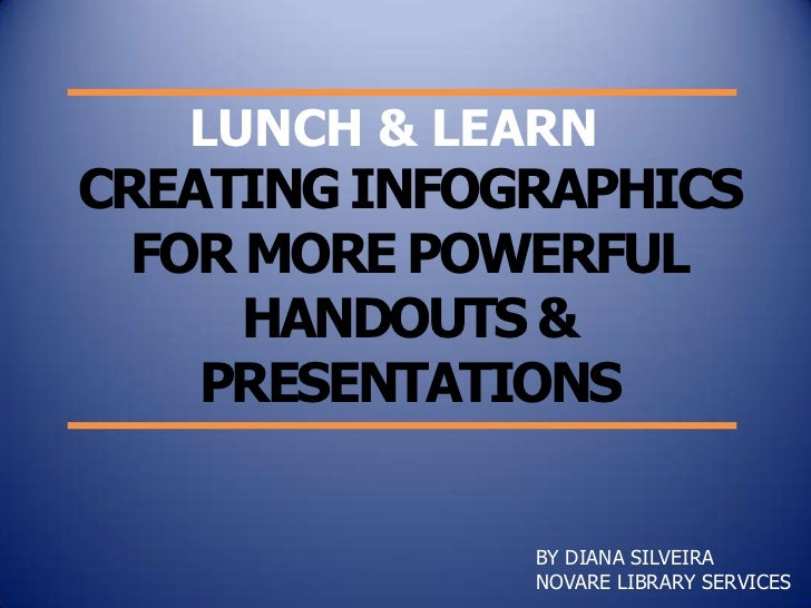 LUNCH & LEARNCREATING INFOGRAPHICS  FOR MORE POWERFUL      HANDOUTS &    PRESENTATIONS              BY DIANA SILVEIRA     ...