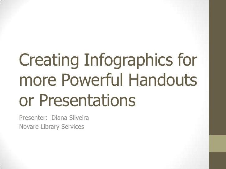 Creating Infographics formore Powerful Handoutsor PresentationsPresenter: Diana SilveiraNovare Library Services