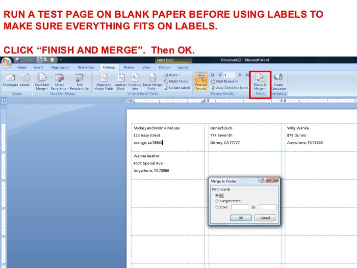 how to make mailing labels