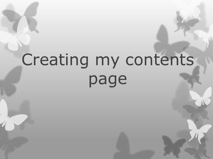 Creating my contents        page
