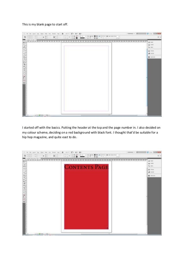 This is my blank page to start off.I started off with the basics. Putting the header at the top and the page number in. I ...