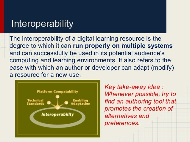 InteroperabilityThe interoperability of a digital learning resource is thedegree to which it can run properly on multiple ...