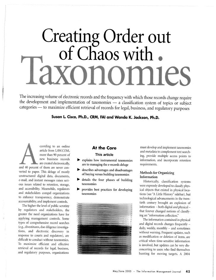 Creating Order Out Of Chaos With Taxonomies