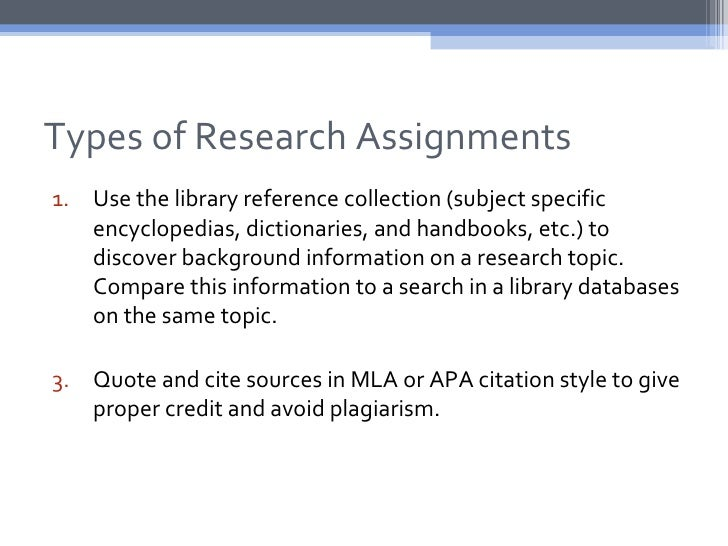 Types of Research Assignments1. Use the library reference collection (subject specific   encyclopedias, dictionaries, and ...