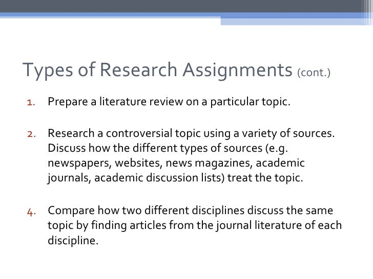 Types of Research Assignments (cont.)1. Prepare a literature review on a particular topic.2. Research a controversial topi...