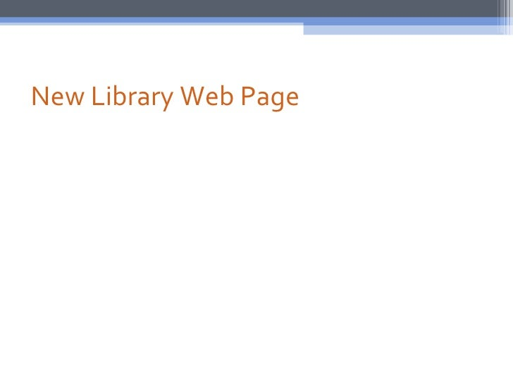 New Library Web Page