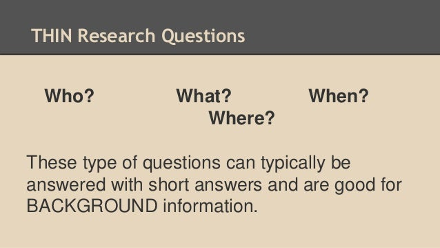 creating a good research question