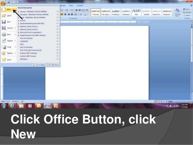 Creating Resumes In Microsoft Word 2007. 1. Tech Lit; 2. Click Office  Button, ClickNew ...