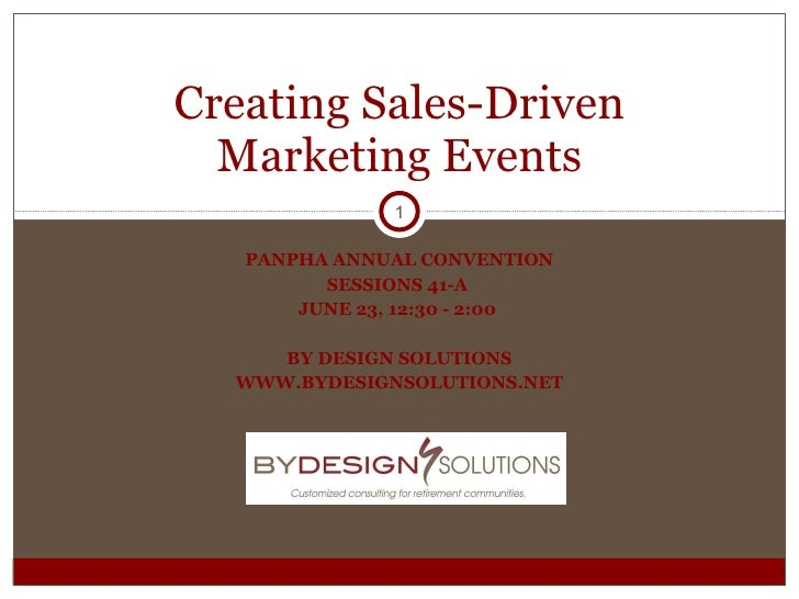 PANPHA ANNUAL CONVENTION SESSIONS 41-A  JUNE 23, 12:30 - 2:00  BY DESIGN SOLUTIONS WWW.BYDESIGNSOLUTIONS.NET Creating Sale...