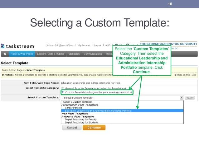 creating & submitting your ela internship portfolio in taskstream gui…, Gwu Presentation Template, Presentation templates
