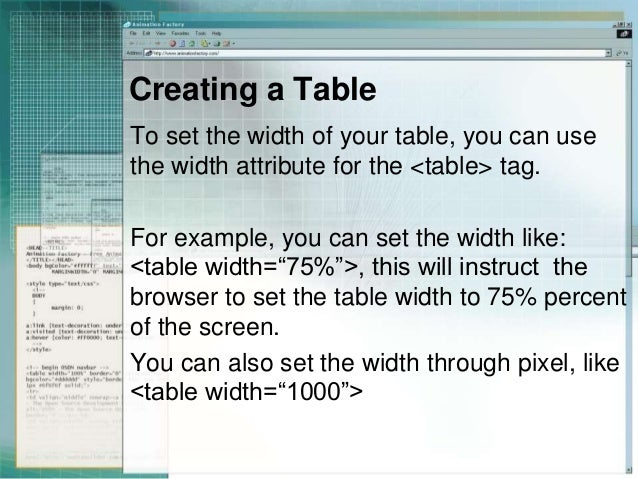 5. Creating a Table To set the width ...  sc 1 st  SlideShare & Creating table