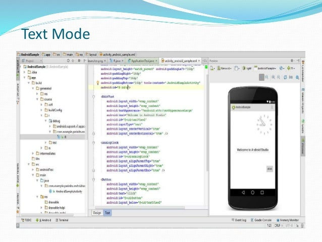 Creating the first app with android studio